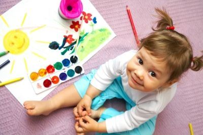 Toddler Playing with Watercolor Paints